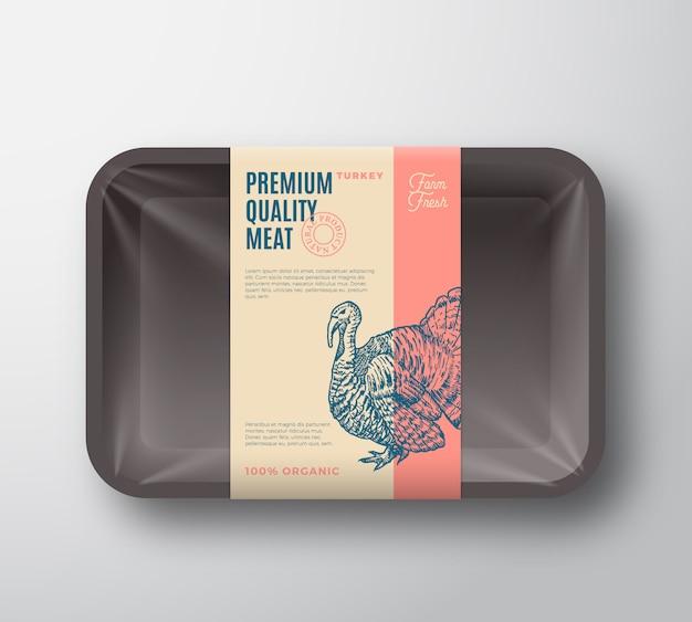 Pacote de peru de qualidade premium. recipiente de bandeja de plástico abstrato de aves com tampa de celofane. etiqueta da embalagem. tipografia moderna e layout de fundo de silhueta de turquia desenhada à mão.