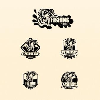 Pacote de pesca com logo monocromático