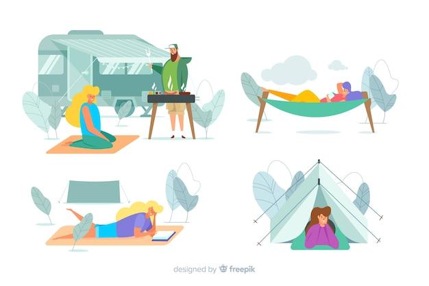 Pacote de pessoas acampar design plano