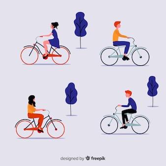 Pacote de pessoas andando de bicicleta