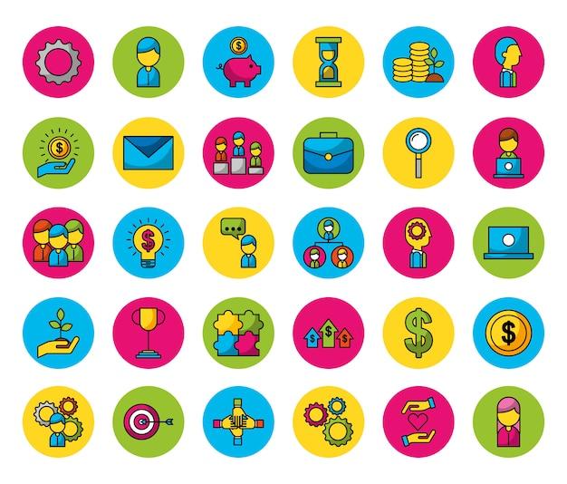 Pacote de pessoas e ícones de negócios