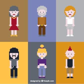 Pacote de pessoas pixelizada de estilo diferente