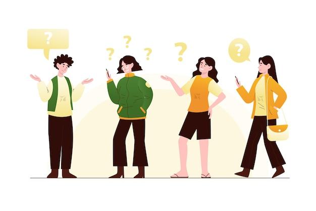 Pacote de pessoas planas orgânicas fazendo perguntas