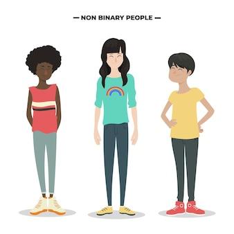 Pacote de pessoas planas orgânicas não binárias