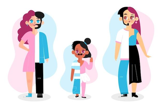 Pacote de pessoas transexuais de desenho animado