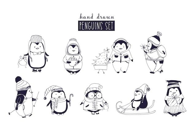 Pacote de pinguins meninos e meninas vestindo roupas de inverno e chapéus desenhados em cores monocromáticas