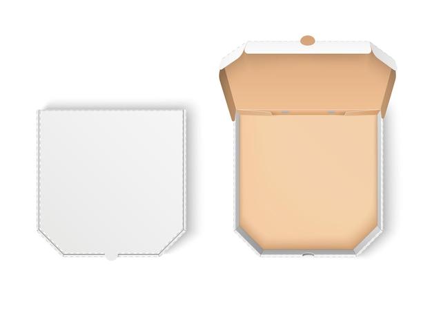 Pacote de pizza. caixa de papelão realista com cantos chanfrados, embalagem de fast food de entrega em branco, vista de cima do recipiente aberto e fechado. conjunto de vetores
