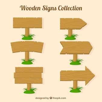 Pacote de placas de madeira com grama