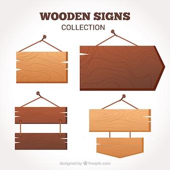 Pacote de placas de madeira em design plano