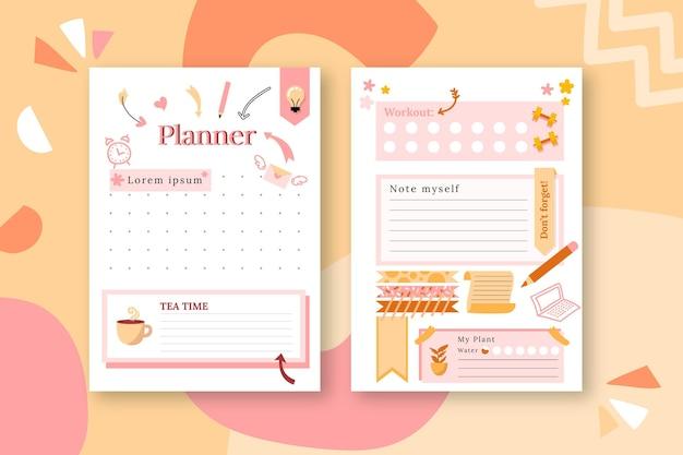 Pacote de planejador de diário com marcadores
