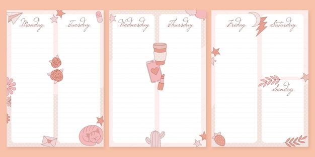 Pacote de planejador de diário criativo
