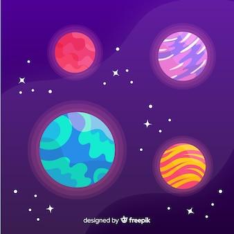 Pacote de planetas desenhados à mão