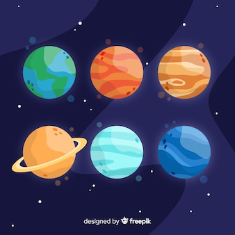Pacote de planetas diferentes desenhados à mão