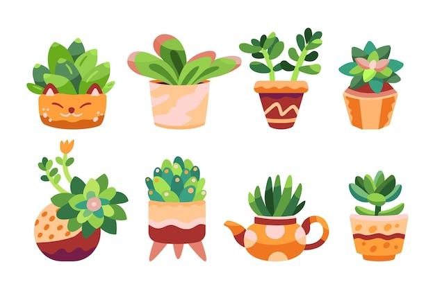Pacote de plantas de interior desenhadas à mão