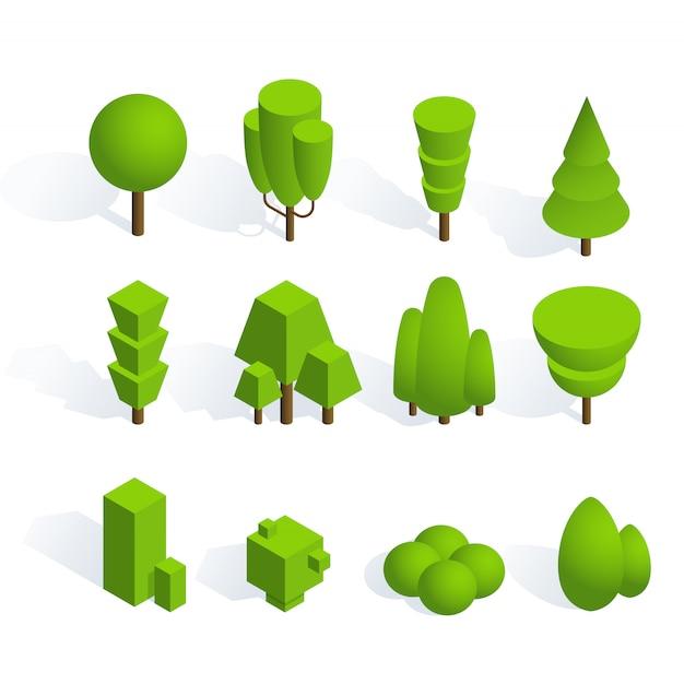 Pacote de plantas e árvores em desenho isométrico