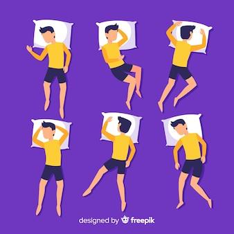 Pacote de posição de sono de pessoa plana de vista superior