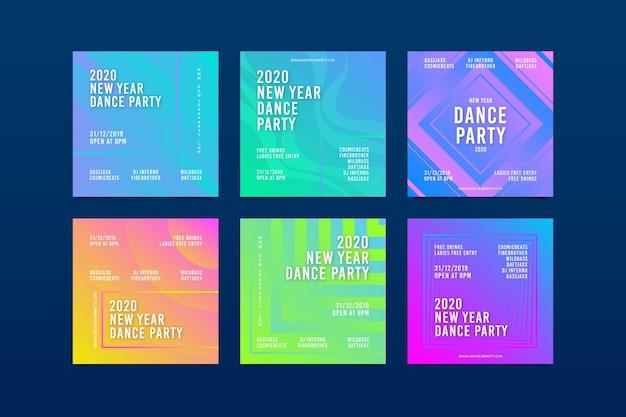 Pacote de postagem do instagram de festa de ano novo