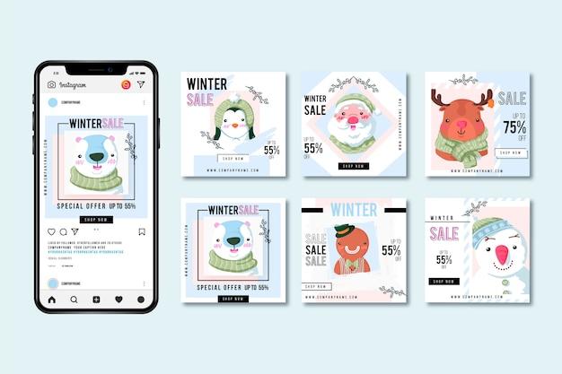 Pacote de postagem do instagram de venda de inverno
