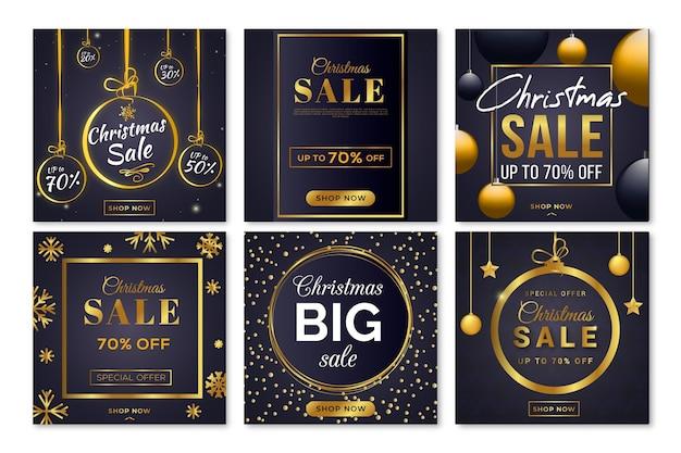 Pacote de postagem do instagram de venda de natal