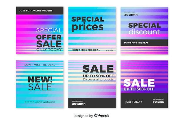 Pacote de postagem do instagram de venda gradiente
