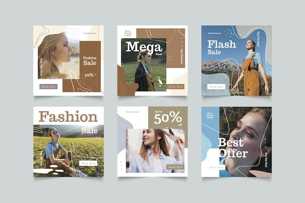 Pacote de postagem do instagram de venda orgânica