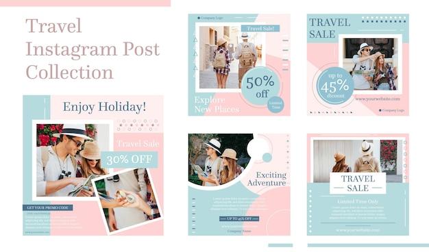 Pacote de postagem do instagram de viagens de design plano