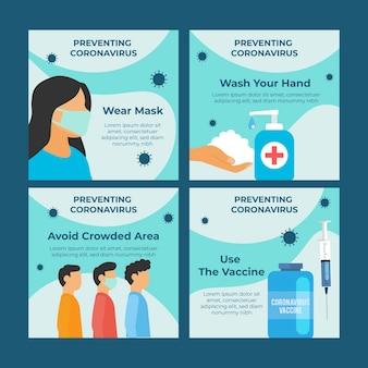 Pacote de postagem instagram de vacina de design plano