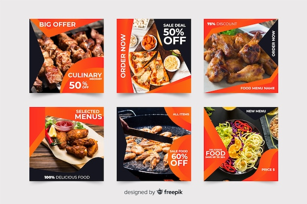 Pacote de postagens culinárias do instagram com foto