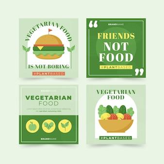 Pacote de postagens de instagram de comida vegetariana plana
