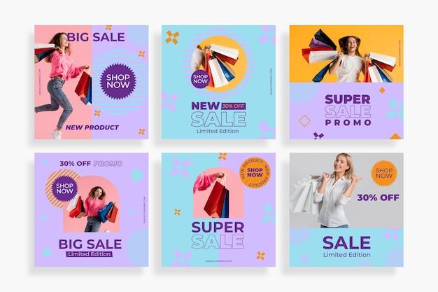 Pacote de postagens de instagram de venda plana com foto