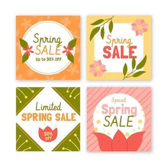 Pacote de postagens de mídia social de venda de primavera desenhada à mão