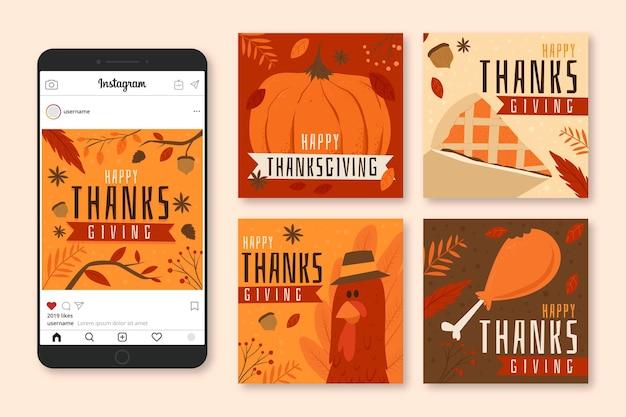 Pacote de postagens do instagram com design plano de ação de graças