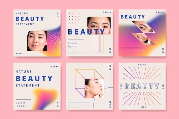 Pacote de postagens do instagram de beleza estilo gradiente