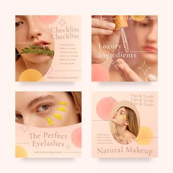 Pacote de postagens do instagram de beleza gradiente