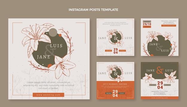Pacote de postagens do instagram de casamento desenhado à mão