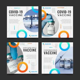 Pacote de postagens do instagram de vacinas com fotos