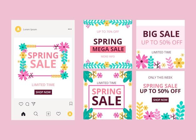 Pacote de postagens do instagram de venda de primavera