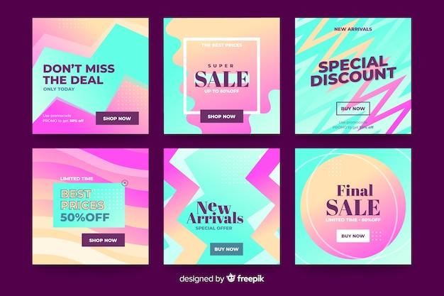 Pacote de postagens do instagram de venda gradiente