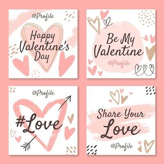 Pacote de postagens do instagram do dia dos namorados