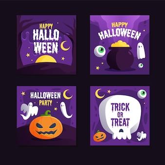 Pacote de postagens do instagram do festival de halloween