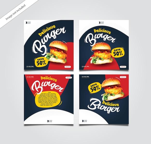 Pacote de postagens do instagram do hambúrguer