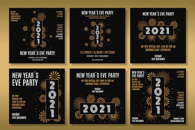 Pacote de postagens do instagram para a festa de ano novo