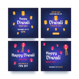 Pacote de postagens do instagram para celebração de diwali