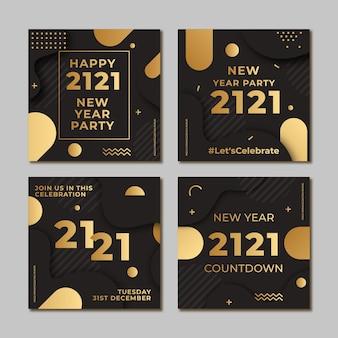 Pacote de postagens do instagram para festa, ano novo 2021