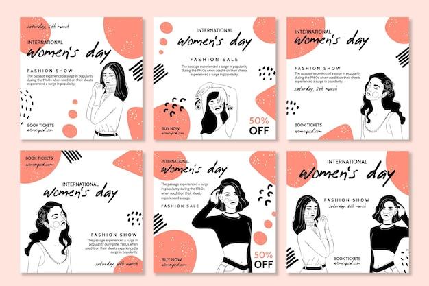 Pacote de postagens do instagram para o dia internacional da mulher
