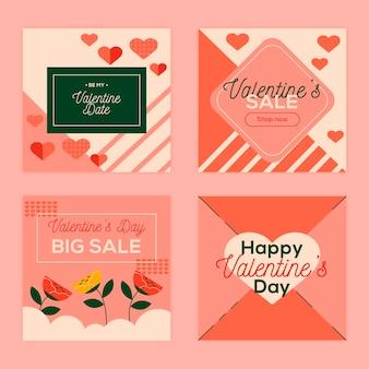 Pacote de postagens do instagram para promoção do dia dos namorados