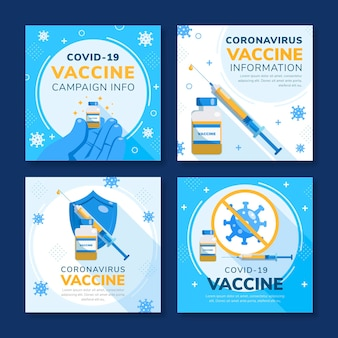 Pacote de postagens instagram de vacina plana