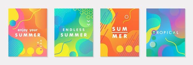 Pacote de pôsteres de verão modernos com fundo gradiente brilhante, formas e elementos geométricos. desenho abstrato moderno perfeito para impressões, mídias sociais, banners, convites, design de branding, capas
