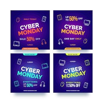 Pacote de posts do cyber segunda-feira instagram