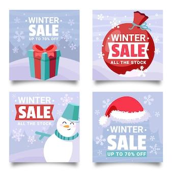 Pacote de posts do instagram de promoção de inverno